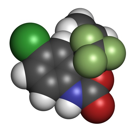 nucleoside: Efavirenz HIV drug, chemical structure. Atoms are represented as spheres with conventional color coding: hydrogen (white), carbon (grey), nitrogen (blue), oxygen (red), chlorine (green), fluorine (light green). Stock Photo