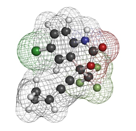 Efavirenz HIV drug, chemical structure. Atoms are represented as spheres with conventional color coding: hydrogen (white), carbon (grey), nitrogen (blue), oxygen (red), chlorine (green), fluorine (light green). Stock Photo - 21339679