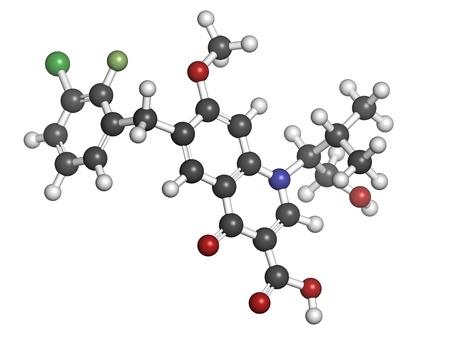 plasmodium: Elvitegravir HIV treatment drug (integrase inhibitor), chemical structure. Atoms are represented as spheres with conventional color coding: hydrogen (white), carbon (grey), nitrogen (blue), oxygen (red), chlorine (green), fluorine (light green).