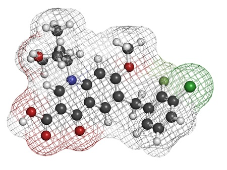 quinine: Elvitegravir HIV treatment drug (integrase inhibitor), chemical structure. Atoms are represented as spheres with conventional color coding: hydrogen (white), carbon (grey), nitrogen (blue), oxygen (red), chlorine (green), fluorine (light green).