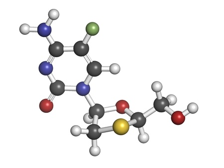 fluorine: Emtricitabine HIV treatment drug, chemical structure. Atoms are represented as spheres with conventional color coding: hydrogen (white), carbon (grey), nitrogen (blue), oxygen (red), sulfur (yellow), fluorine (green).