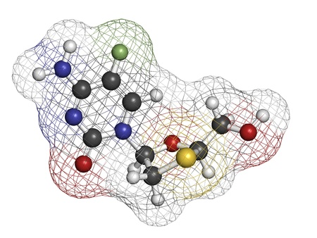 nucleoside: Emtricitabine HIV treatment drug, chemical structure. Atoms are represented as spheres with conventional color coding: hydrogen (white), carbon (grey), nitrogen (blue), oxygen (red), sulfur (yellow), fluorine (green).