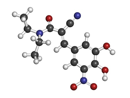 parkinson's: Entacapone Parkinsons disease drug, chemical structure. Atoms are represented as spheres with conventional color coding: hydrogen (white), carbon (grey), nitrogen (blue), oxygen (red). Stock Photo