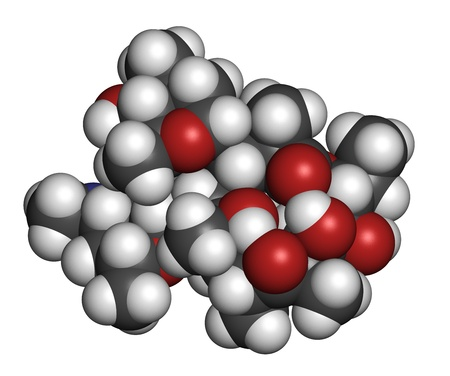 Erythromycin antibiotic drug (macrolide class), chemical structure Atoms are represented as spheres with conventional color coding: hydrogen (white), carbon (grey), nitrogen (blue), oxygen (red). Stock Photo