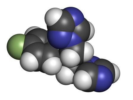 살균제: 플루코나졸 항진균제 (트리아 클래스), 화학 구조. 수소 (흰색), 탄소 (회색), 질소 (파란색), 산소 (적색), 불소 (녹색) : 원자는 기존의 컬러 코딩 분야로 표시됩니다.