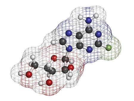 phosphorus: Fludarabine blood cancer drug, chemical structure. Atoms are represented as spheres with conventional color coding: hydrogen (white), carbon (grey), nitrogen (blue), oxygen (red), phosphorus (orange), fluorine (green).