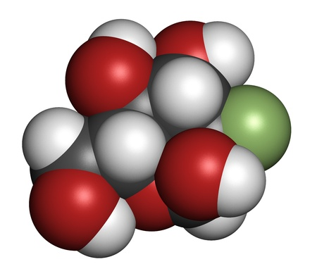 fluorine: Fludeoxyglucose 18F (fluorodeoxyglucose 18F, FDG) cancer imaging diagnostic drug, chemical structure. Contains radioactive isotope fluorine-18. Atoms are represented as spheres with conventional color coding: hydrogen (white), carbon (grey), oxygen (red),
