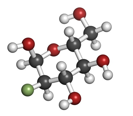 isotope: Fludeoxyglucose 18F (fluorodeoxyglucose 18F, FDG) cancer imaging diagnostic drug, chemical structure. Contains radioactive isotope fluorine-18. Atoms are represented as spheres with conventional color coding: hydrogen (white), carbon (grey), oxygen (red),