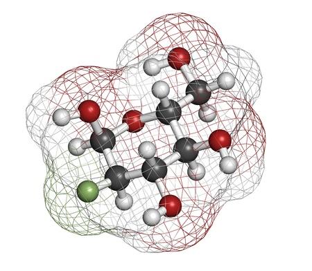 hidrogeno: Drogas Fludesoxiglucosa 18F (18F fluorodesoxiglucosa, FDG) C�ncer de diagn�stico por imagen, la estructura qu�mica. Contiene is�topo radioactivo fl�or-18. Los �tomos se representan como esferas con c�digo de colores convencionales: hidr�geno (blanco), el carb�n (gris), ox�geno (roja), Foto de archivo