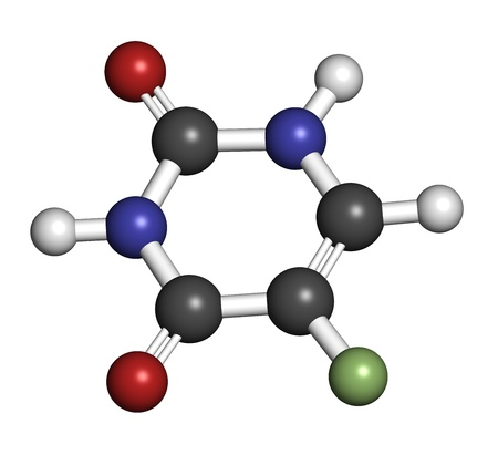 pancreatic cancer: Fluorouracil (5-FU, FU) cancer chemotherapy drug, chemical structure. Atoms are represented as spheres with conventional color coding: hydrogen (white), carbon (grey), nitrogen (blue), oxygen (red),  fluorine (green).