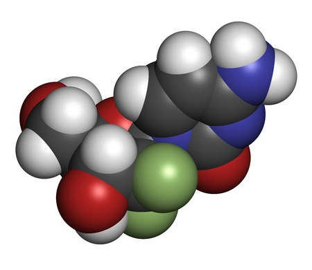 chemotherapy drug: Gemcitabine cancer chemotherapy drug, chemical structure. Atoms are represented as spheres with conventional color coding: hydrogen (white), carbon (grey), nitrogen (blue), oxygen (red),  fluorine (green).