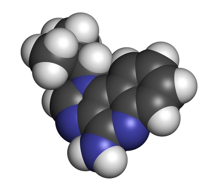 topical: Imiquimod topical skin cancer drug, chemical structure. Atoms are represented as spheres with conventional color coding: hydrogen (white), carbon (grey), nitrogen (blue).