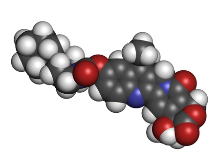 Irinotecan cancer chemotherapy drug, chemical structure. Atoms are represented as spheres with conventional color coding: hydrogen (white), carbon (grey), nitrogen (blue), oxygen (red). Stock Photo - 21339723