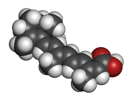 Isotretinoin acne treatment drug, chemical structure. Known to be a teratogen (causes birth defects). Atoms are represented as spheres with conventional color coding: hydrogen (white), carbon (grey), oxygen (red). Stock Photo - 21339731