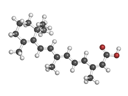 Isotretinoin acne treatment drug, chemical structure. Known to be a teratogen (causes birth defects). Atoms are represented as spheres with conventional color coding: hydrogen (white), carbon (grey), oxygen (red). Stock Photo - 21339732