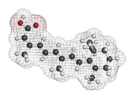 colitis: Isotretinoin acne treatment drug, chemical structure. Known to be a teratogen (causes birth defects). Atoms are represented as spheres with conventional color coding: hydrogen (white), carbon (grey), oxygen (red). Stock Photo