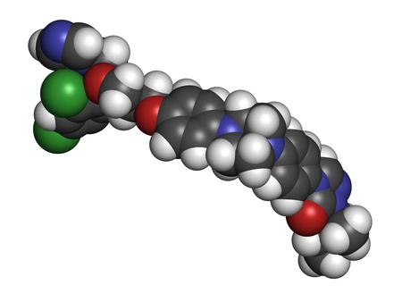 itraconazole: Itraconazole antifungal drug (triazole class), chemical structure. Atoms are represented as spheres with conventional color coding: hydrogen (white), carbon (grey), nitrogen (blue), oxygen (red), chlorine (green).
