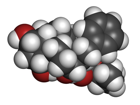 ocular diseases: Latanaprost glaucoma drug, chemical structure. Atoms are represented as spheres with conventional color coding: hydrogen (white), carbon (grey), oxygen (red).
