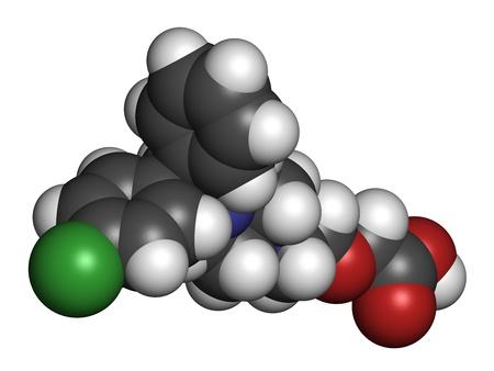 pokrzywka: Cetyryzyna (lewocetyryzynę) lek przeciwhistaminowy, struktury chemicznej. Stosowany w leczeniu katar sienny, pokrzywka i alergie. Atomy są reprezentowane sfer z konwencjonalnego kodowania kolorów: wodór (biały), węgiel (szary), azotu (niebieski), tlen (czerwony), chloru
