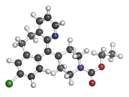 antihistamine: Loratadine antihistamine drug, chemical structure. Used to treat hay fever, urticaria and allergies. Atoms are represented as spheres with conventional color coding: hydrogen (white), carbon (grey), nitrogen (blue), oxygen (red), chlorine (green).