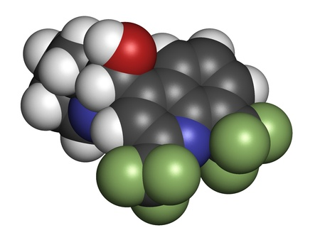 quinine: Mefloquine malaria drug, chemical structure. Atoms are represented as spheres with conventional color coding: hydrogen (white), carbon (grey), nitrogen (blue), oxygen (red), fluorine (green).