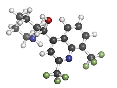 plasmodium: Mefloquine malaria drug, chemical structure. Atoms are represented as spheres with conventional color coding: hydrogen (white), carbon (grey), nitrogen (blue), oxygen (red), fluorine (green).