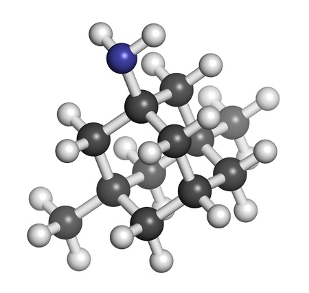 glutamate: Memantine Alzheimers disease drug, chemical structure. Atoms are represented as spheres with conventional color coding: hydrogen (white), carbon (grey), nitrogen (blue).