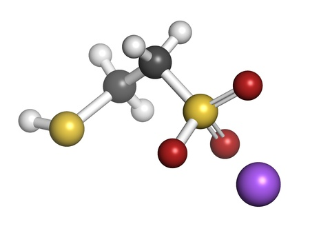 adjuvant: Mesna cancer chemotherapy adjuvant and mucolytic drug, chemical structure. Atoms are represented as spheres with conventional color coding: hydrogen (white), carbon (grey), oxygen (red), sulfur (yellow), sodium (purple). Stock Photo