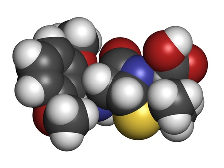antimicrobial: Meticillin antibiotic drug (beta-lactam class), chemical structure. MRSA stands for Methicillin-resistant staphylococcus aureus. Atoms are represented as spheres with conventional color coding: hydrogen (white), carbon (grey), nitrogen (blue), oxygen (red