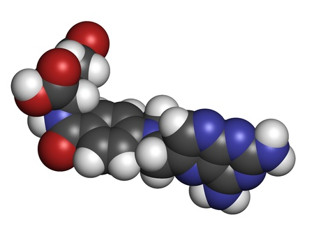 immunosuppressive: Methotrexate cancer chemotherapy and immunosuppressive drug, chemical structure. Atoms are represented as spheres with conventional color coding: hydrogen (white), carbon (grey), nitrogen (blue), oxygen (red).