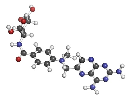 Methotrexate cancer chemotherapy and immunosuppressive drug, chemical structure. Atoms are represented as spheres with conventional color coding: hydrogen (white), carbon (grey), nitrogen (blue), oxygen (red).