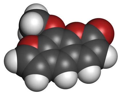 radiation therapy: methoxsalen (psoralen) skin disease drug, chemical structure. Used in PUVA therapy in combination with UVA radiation. Atoms are represented as spheres with conventional color coding: hydrogen (white), carbon (grey), oxygen (red).