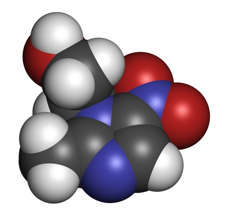 giardia: Metronidazole antibiotic drug (nitroimidazole class), chemical structure. Atoms are represented as spheres with conventional color coding: hydrogen (white), carbon (grey), nitrogen (blue), oxygen (red).