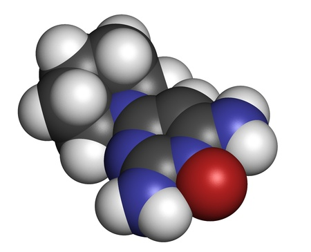Minoxidil male pattern baldness (androgenic alopecia) drug, chemical structure. Atoms are represented as spheres with conventional color coding: hydrogen (white), carbon (grey), nitrogen (blue), oxygen (red). Stock Photo - 21339786
