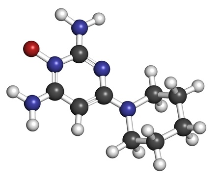 calvicie: Minoxidil drogas calvicie de patr�n masculino (alopecia androg�nica), la estructura qu�mica. Los �tomos se representan como esferas con c�digo de colores convencionales: hidr�geno (blanco), el carb�n (gris), nitr�geno (azul), el ox�geno (roja).