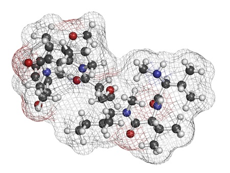 lymphoma: Monomethyl auristatin E (MMAE, vedotin), the cytotoxic payload of brentuximab vedotin antibody-drug conjugate. Atoms are represented as spheres with conventional color coding: hydrogen (white), carbon (grey), nitrogen (blue), oxygen (red).
