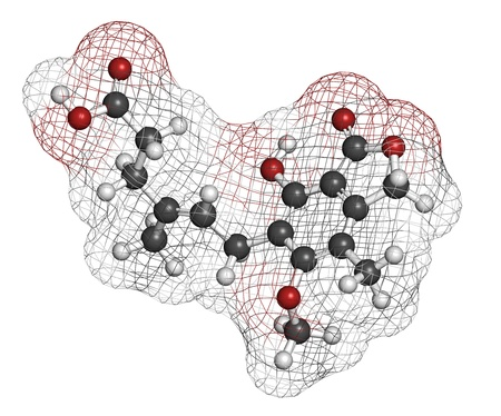 Mycophenolate (mycophenolic acid) immunosuppressive drug, chemical structure. Used to prevent transplant rejection and in treatment of autoimmune disease. Atoms are represented as spheres with conventional color coding: hydrogen (white), carbon (grey), ni