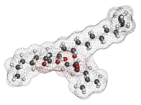 Orlistat obesity drug, chemical structure. Atoms are represented as spheres with conventional color coding: hydrogen (white), carbon (grey), nitrogen (blue), oxygen (red). photo