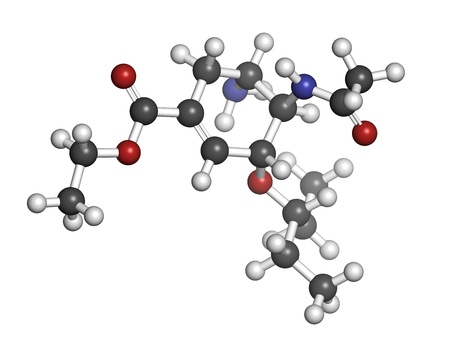 h5n1: Oseltamivir influenza virus drug, chemical structure. Atoms are represented as spheres with conventional color coding: hydrogen (white), carbon (grey), nitrogen (blue), oxygen (red).