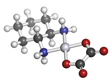 chemotherapeutic: Oxaliplatin cancer chemotherapy drug, chemical structure. Atoms are represented as spheres with conventional color coding: hydrogen (white), carbon (grey), nitrogen (blue), oxygen (red), platinum (blue-white). Stock Photo