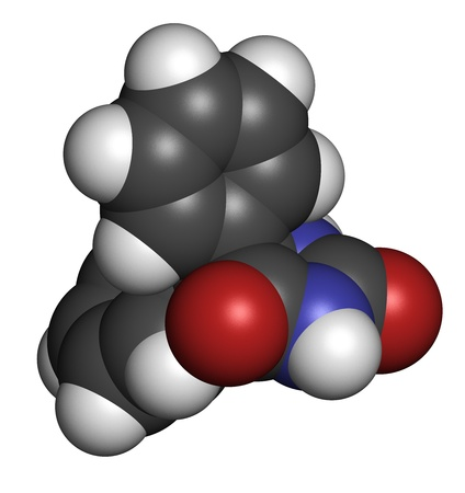 convulsión: Fenito�na epilepsia farmacorresistente, la estructura qu�mica. Los �tomos se representan como esferas con c�digo de colores convencionales: hidr�geno (blanco), el carb�n (gris), nitr�geno (azul), el ox�geno (roja). Foto de archivo