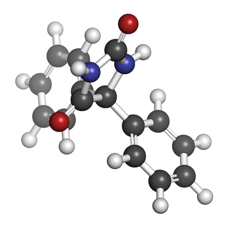 convulsion: Phenytoin epilepsy drug, chemical structure. Atoms are represented as spheres with conventional color coding: hydrogen (white), carbon (grey), nitrogen (blue), oxygen (red).