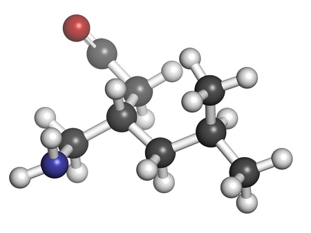fibromyalgia: Pregabalin epilepsy and fibromyalgia drug, chemical structure. Atoms are represented as spheres with conventional color coding: hydrogen (white), carbon (grey), nitrogen (blue), oxygen (red).
