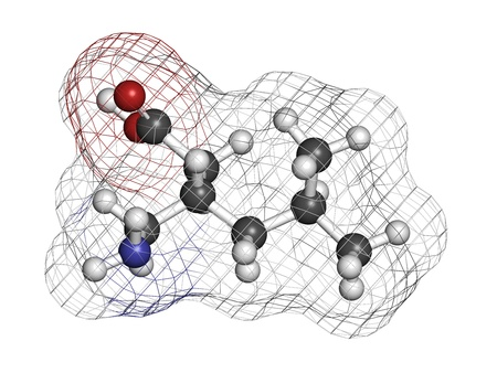 anticonvulsant: Pregabalin epilepsy and fibromyalgia drug, chemical structure. Atoms are represented as spheres with conventional color coding: hydrogen (white), carbon (grey), nitrogen (blue), oxygen (red).