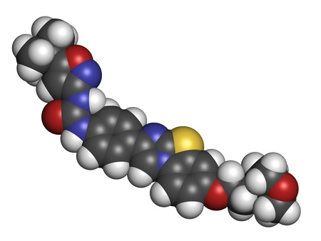 aml: Quizartinib investigational acute myeloid leukemia (AML) drug, chemical structure Atoms are represented as spheres with conventional color coding: hydrogen (white), carbon (grey), nitrogen (blue), oxygen (red), sulfur (yellow). Stock Photo