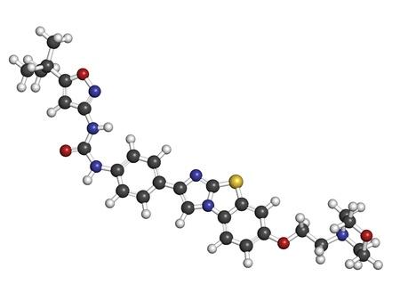 leucemia: Quizartinib leucemia (AML) medicamento en investigaci�n mieloide aguda, la estructura de los �tomos qu�micos se representan como esferas con c�digo de colores convencionales: hidr�geno (blanco), el carb�n (gris), nitr�geno (azul), el ox�geno (roja), azufre (amarillo).