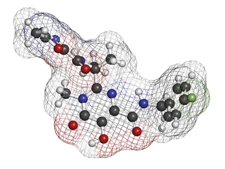 inhibitor: Raltegravir HIV drug (integrase inhibitor class), chemical structure. Atoms are represented as spheres with conventional color coding: hydrogen (white), carbon (grey), nitrogen (blue), oxygen (red), fluorine (green).