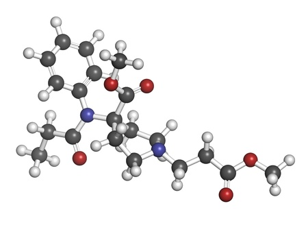 analgesic: Remifentanil anaesthetic and analgesic drug, chemical structure. Atoms are represented as spheres with conventional color coding: hydrogen (white), carbon (grey), nitrogen (blue), oxygen (red). Stock Photo