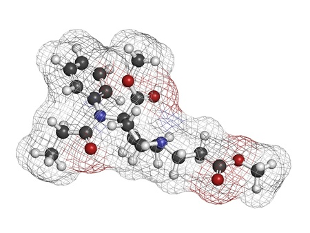 anaesthetic: Remifentanil anaesthetic and analgesic drug, chemical structure. Atoms are represented as spheres with conventional color coding: hydrogen (white), carbon (grey), nitrogen (blue), oxygen (red). Stock Photo