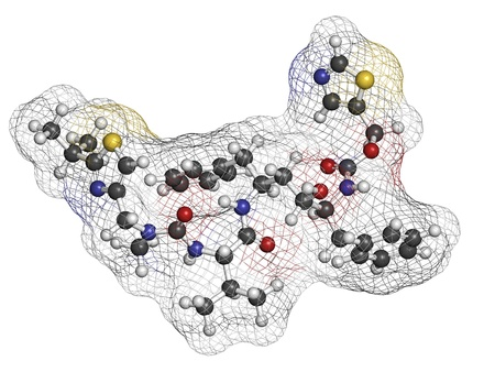 protease: Ritonavir HIV drug (protease inhibitor class), chemical structure. Atoms are represented as spheres with conventional color coding: hydrogen (white), carbon (grey), nitrogen (blue), oxygen (red), sulfur (yellow). Stock Photo